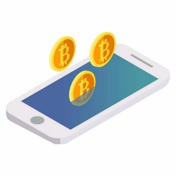 2.5D风格智能手机和上面的比特币金币png图片免抠矢量素材