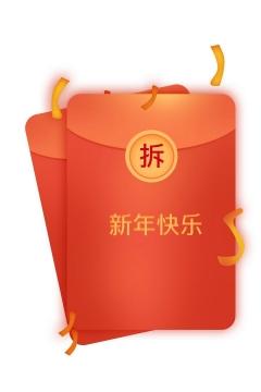 高清带拆字的红包新年快乐促销活动图片免抠素材