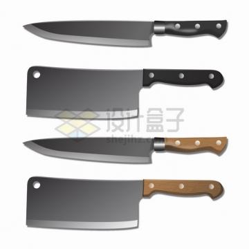 4把铸铁菜刀厨房不锈钢刀具png图片素材