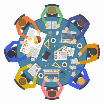 俯视视角的商务人员圆桌会议png图片免抠矢量素材