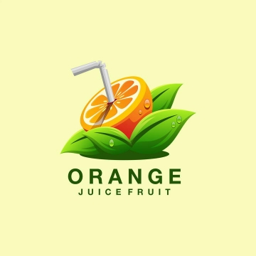 吸管插在橙子上果汁饮料类LOGO图标设计方案图片免抠素材