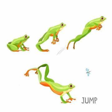 青蛙跳跃的步骤图和青蛙吃蚊子png图片免抠矢量素材