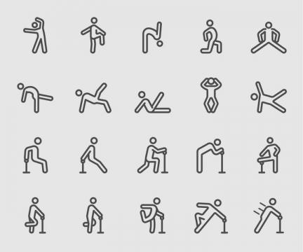 20款锻炼身体健身的线条小人标志图标图片免抠矢量素材