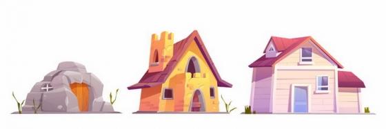 卡通漫画风格山洞砖瓦房和木头房子png图片免抠矢量素材