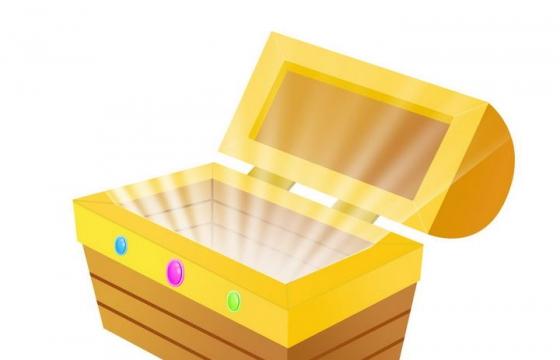 打开的宝物箱放出光芒图片免抠素材