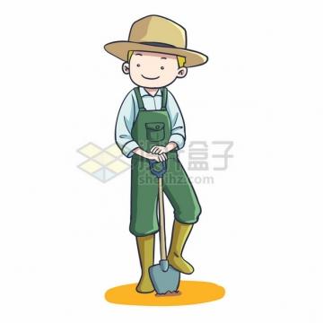 卡通农民拿着铁锹挖土643892png图片素材