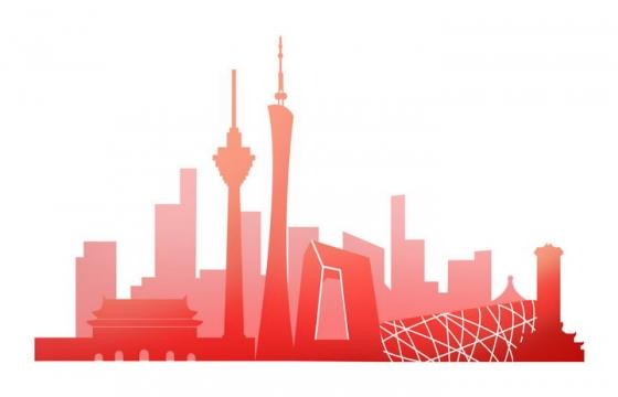 红色的北京城市天际线地标建筑剪影图片免抠素材