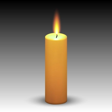 一根燃烧着火焰的黄色蜡烛免抠矢量图片素材