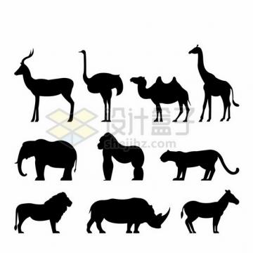 羚羊鸵鸟骆驼长颈鹿大象大猩猩花豹狮子犀牛斑马非洲动物剪影899075png图片素材