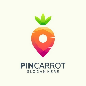 彩色胡萝卜LOGO设计方案免抠png图片矢量图素材