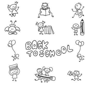 黑色手绘线条小人卡通儿童画简笔画图片免抠矢量素材