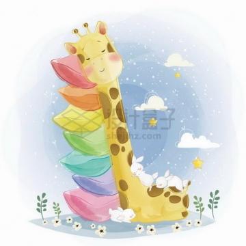 可爱长颈鹿枕着7个枕头睡觉png图片素材
