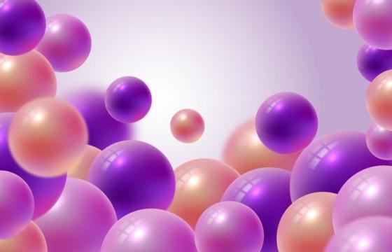 立体风格的紫色和红色小球背景图片