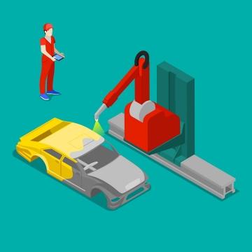 2.5D自动化汽车生产线上正在为汽车喷漆的工业机器人图片免抠矢量素材