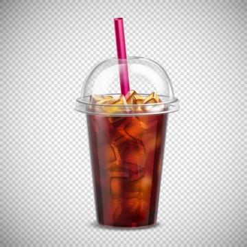 带吸管的透明一次性塑料杯中的加冰饮料图片免抠矢量素材