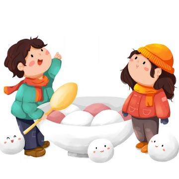 卡通男孩女孩和元宵节汤圆png图片免抠素材