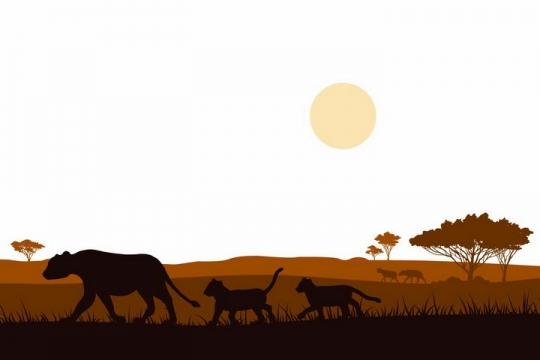 和妈妈一起在非洲大草原草地上散步的小狮子非洲野生动物剪影png图片免抠矢量素材