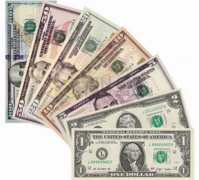 面值从1美元到100美元的美元钞票纸币png图片素材