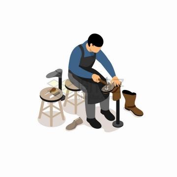 2.5D风格修鞋匠正在做皮鞋png图片免抠矢量素材