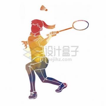 打羽毛球彩色涂鸦352356png免抠图片素材