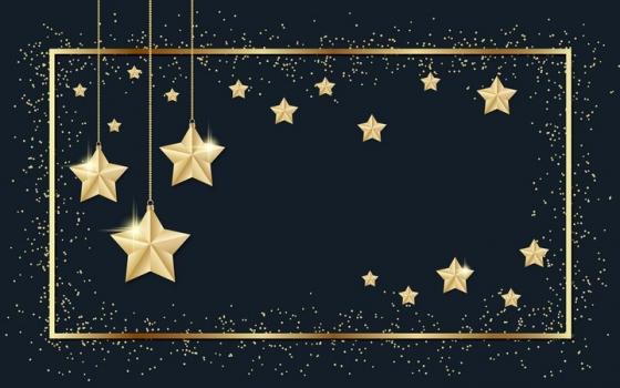 金色方框和发光的金色五角星装饰png图片免抠矢量素材