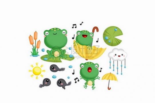 快乐的卡通小青蛙从小蝌蚪开始成长png图片素材