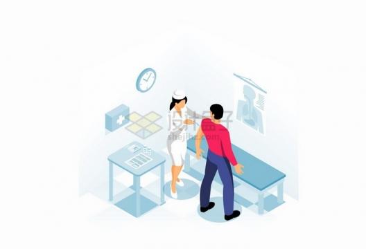 2.5D风格医院里护士正在病人手臂上打针接种疫苗png图片免抠矢量素材