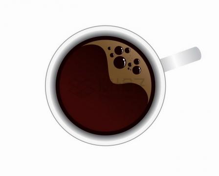 冒泡的咖啡杯美味咖啡饮料俯视图png图片免抠矢量素材
