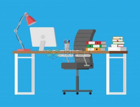 干净的办公桌和有电脑和文件png图片素材