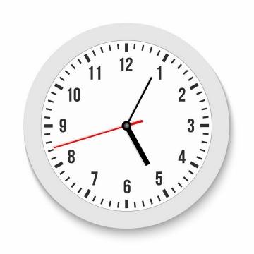 逼真的白色表盘时钟挂钟png图片免抠矢量素材