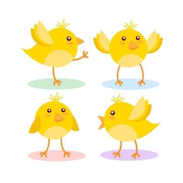 四款可爱的卡通小黄鸡图片免抠矢量素材
