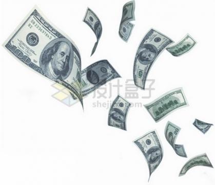 飞舞的美元钞票纸币png图片素材