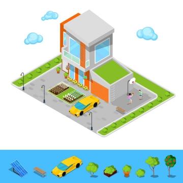2.5D风格小洋楼别墅和门口的停车场图片免抠矢量素材