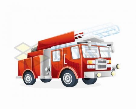 卡通漫画风格消防云梯车消防设备png图片免抠矢量素材
