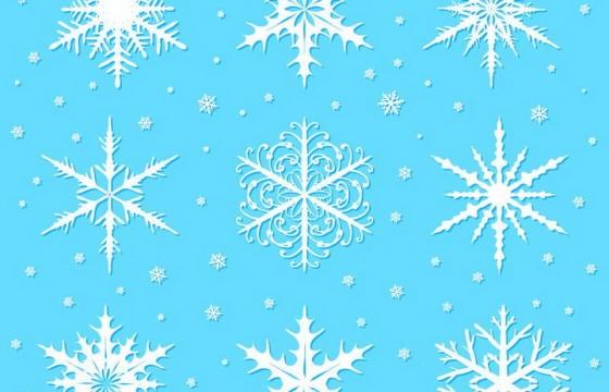 9种不同形状的白色雪花图案免抠png图片矢量图素材