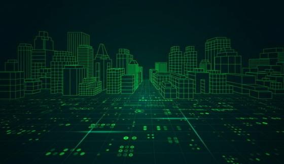 绿色线条地形和城市草图png图片素材