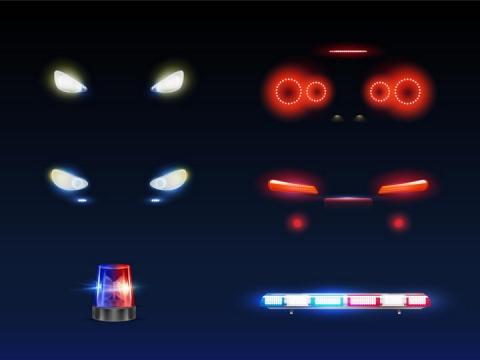 汽车大灯和红色车尾灯以及警灯png图片免抠矢量素材