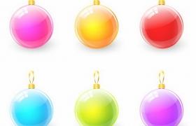 6款装饰用的圣诞球水晶球挂饰免抠png图片矢量图素材