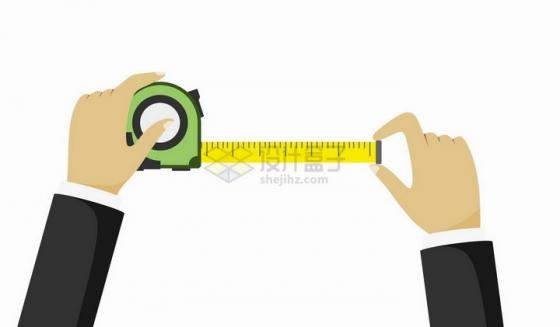 扁平化风格用卷尺测量的双手png图片免抠矢量素材