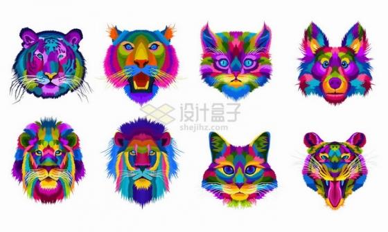 老虎狮子猫咪森林狼等彩色颜料素描动物头像png图片免抠矢量素材