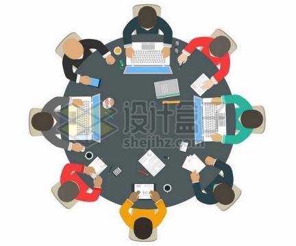 俯视视角的圆桌会议405716png图片素材