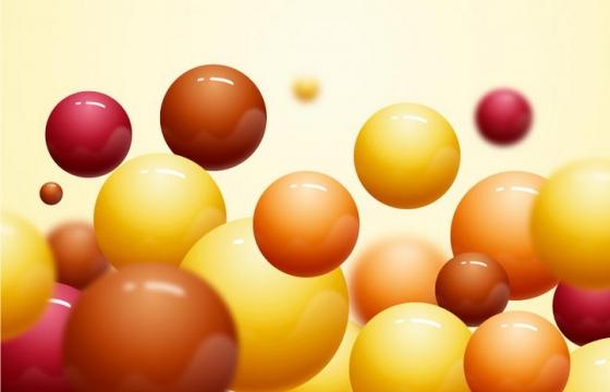 立体风格的棕色红色和黄色小球图片