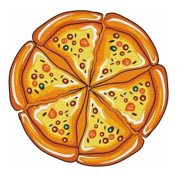 彩绘风格美味披萨png图片免抠素材