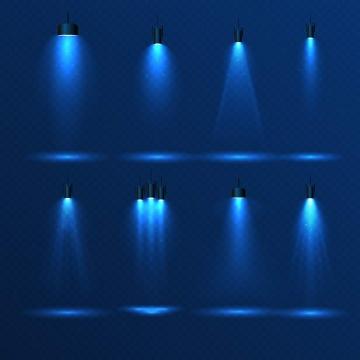 八款蓝色的舞台灯光照射效果图片免抠素材