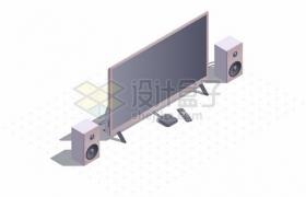 3D风格电视机和音响638322png矢量图片素材