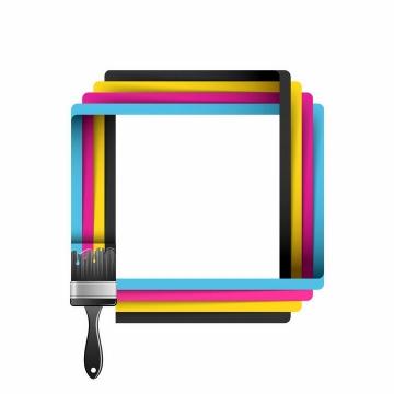 刷子刷出的CMYK颜色方框边框png图片免抠eps矢量素材