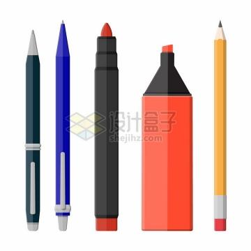 圆珠笔铅笔白板笔水彩笔等写字工具png图片素材
