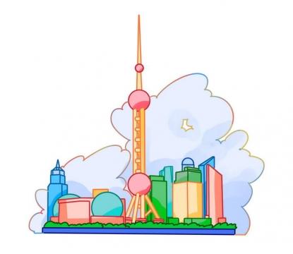 手绘风格简约上海城市天际线地标建筑图片免抠素材