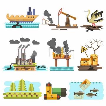 9款石油泄露污染破坏环境保护环境png图片免抠矢量素材