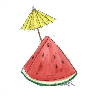 彩色水彩画风格夏天切开的西瓜水果图片免抠素材